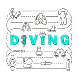 Banner scuba diving equipment Royalty Free Stock Photo