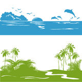 Banner with a sea view and the tropics, silhouette Stock Photography