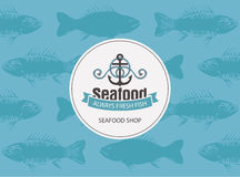 Banner for seafood with anchor, rope and seamless Royalty Free Stock Photos