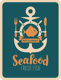 Banner for seafood restaurant with anchor and fish. Retro banner for a seafood restaurant with anchor, fish, helm, cutlery and inscription seafood Stock Images