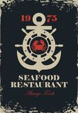 Banner for seafood restaurant with anchor and helm. Vector banner for seafood restaurant with an anchor, wheel, crab and inscription Fresh fish on the black Stock Photos