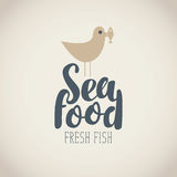 Banner for seafood with Seagull, fish and words Stock Photography