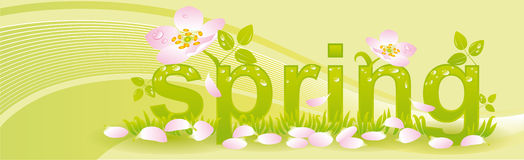 Banner for seasons spring. With light green background Stock Photo