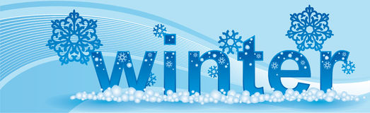 Banner for seasons winter. With blue background Royalty Free Stock Photos