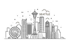 Banner of Seattle city in flat line trendy style. Seattle city line art. Royalty Free Stock Images