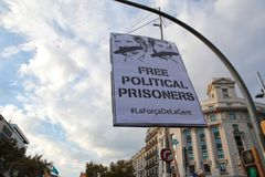 Demonstration for freedom and against political prisoners in barcelona. A banner seen during a demonstration supporting prisoners independents leaders sanchez Royalty Free Stock Photo