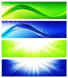 Banner set. Four bright web banner set in blue and green Royalty Free Stock Photo