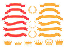 Banner set. Vector gold  banner,laurel  wreath and crown set Royalty Free Stock Photography