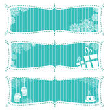 Banner set. Vector winter banner set with snow and gift Royalty Free Illustration