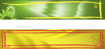 Banner set. With gradient mesh and brush decoration Stock Image