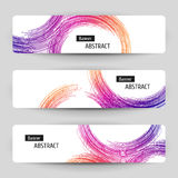Banner set with abstract linear design. Stock Images