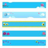 Banner set with bird, bee, owl and flowers. Stock Photo