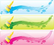 Banner set with brashes Royalty Free Stock Photo