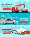 Banner set about car assistance on road, accidents and service Royalty Free Stock Photography