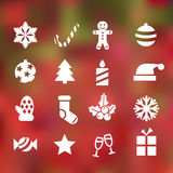 Banner. Set of 16 christmas flat icons on abstract background Stock Image