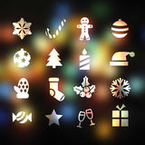 Banner. Set of 16 christmas flat icons on abstract background Stock Photos
