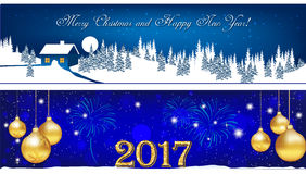 Banner set for Christmas and New Year 2017 Royalty Free Stock Photography