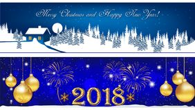 Banner set for Christmas and New Year 2018. With Christmas baubles, winter landscape, fireworks. Size 950x250 Royalty Free Stock Photography