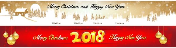 Two banners set leaderboard for Christmas and New Year 2018. Banner set for Christmas and New Year 2018 with Christmas baubles, winter landscape, fireworks Stock Images