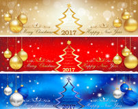 Banner set for Christmas and New Year 20172017 Happy new year background with fireworks. Banner set for Christmas and New Year 2017, in three colors Royalty Free Stock Photos