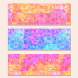 Banner Set with Colorful Modern Triangle Pattern Stock Photo