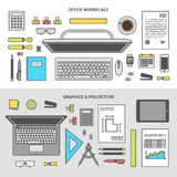 Banner set concept office objects top view. Banner concept graphics and projection, workplace collection of office items, equipment, and mobile devices, flat Stock Photo