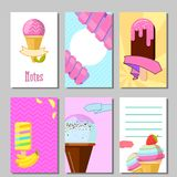 Banner set of cute sweet backgrounds. Ice cream and fruits summer cards Stock Photography
