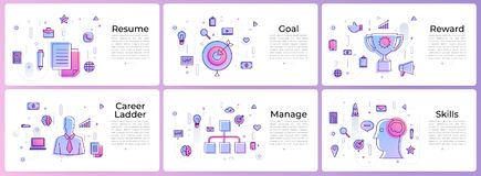 Banner set digital marketing. Line icons Royalty Free Stock Photography