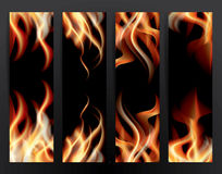 Banner Set with Fire Flames. Stock Image