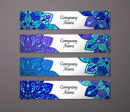 Banner set with floral mandala pattern Royalty Free Stock Images