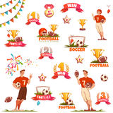 Banner set with football ball, sportsman and goblet. Vector illustration.  Stock Photo