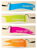 Banner set of four with paint rollers Royalty Free Stock Images