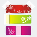 Banner set with gifts and snowflakes Royalty Free Stock Images