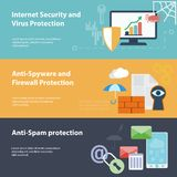 Banner set with hacking virus protection Royalty Free Stock Photography