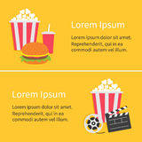 Banner set. Movie reel Open clapper board Popcorn Cinema icon collection. Flat design style. Yellow background. Royalty Free Stock Photos