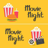 Banner set. Movie reel Open clapper board Popcorn Cinema icon collection. Movie night text. Flat design style. Yellow background. Royalty Free Stock Images