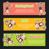 Banner set for New Year 2016, year of the Monkey. Colorful theme for your design, prints and illustrations. Vector image can be used for web design, prints royalty free illustration