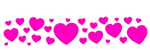 Banner from a set of pink paper hearts isolated on white background stock photo