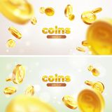 Banner set Realistic Gold coins flying. Color background. Illustration flat, vector Royalty Free Stock Images