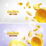 Banner set Realistic Gold coins flying. Color background. Illustration flat, vector Royalty Free Stock Photo
