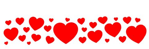 Banner from a set of red paper hearts isolated on white background royalty free stock image