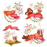 Banner set with ribbons for Festa Junina Brazil party. Vector illustration.  Royalty Free Stock Photography