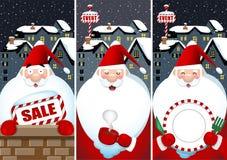 Banner set of Santa Claus at night. Illustration of Christmas and winter season Royalty Free Stock Image