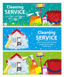 Banner set services cleaning. A clean house and office. Vector royalty free illustration