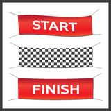Banner set start finish illustration. Starting, finishing, and checkered banners Royalty Free Stock Photos