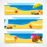 Banner set of summer beach Stock Images