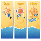 Banner set of Summer beach with turquoise rippled wave and umbrella beach in top view. Seascape background and sand texture. Royalty Free Stock Images