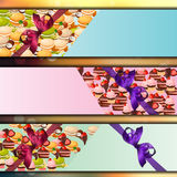 Banner set with sweets Royalty Free Stock Photography