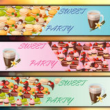 Banner set with sweets Stock Photos
