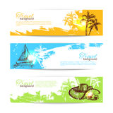 Banner set of travel backgrounds Stock Photography